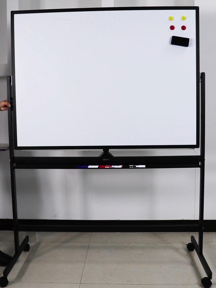 Pizarra blanca móvil giratoria, tablero blanco de escritura de doble cara con soporte