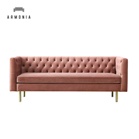 Modern Design Living Room Velvet Sofa with Golden Legs