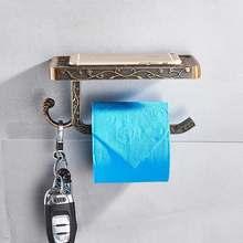 Настенный держатель для бумаги, унитаз белого цвета, алюминиевая Античная полка для рулонной бумаги, полка для ванной комнаты(Китай)