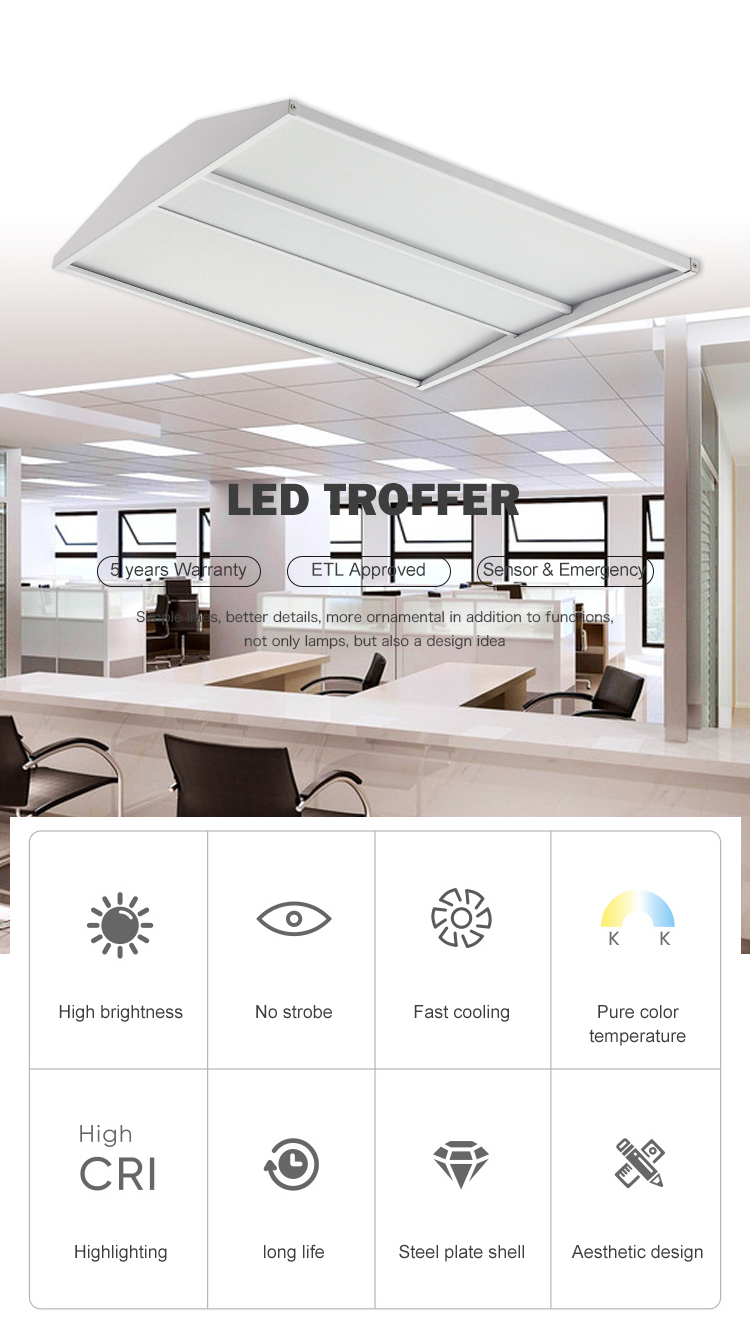 High brightness 27W 36W 40W 50W seamless linkable shop Led Troffer Light