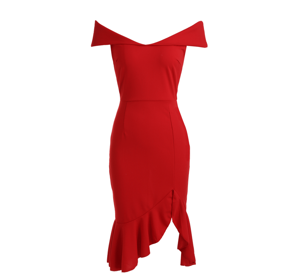 Mode Party Backless V-ausschnitt Meerjungfrau Volant Sexy bodycon cocktail kleid