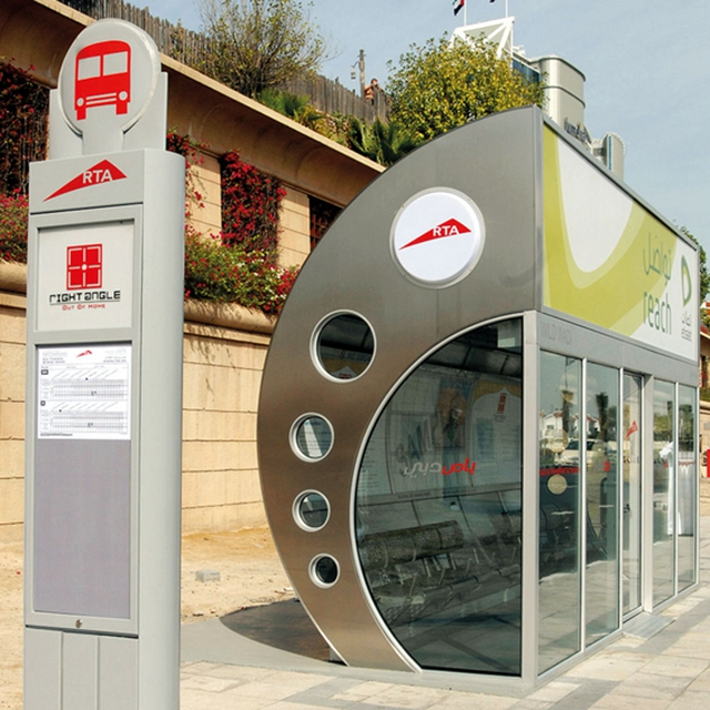 product-Manufacturer Street Aluminum Bus Station Shelter with advertising led lightbox for Middle Ea