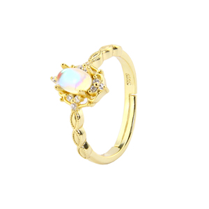 Moonstone Ring 925 Sterling Silver 14k gold plated Jewelry Silver Wedding Engagement Ring
