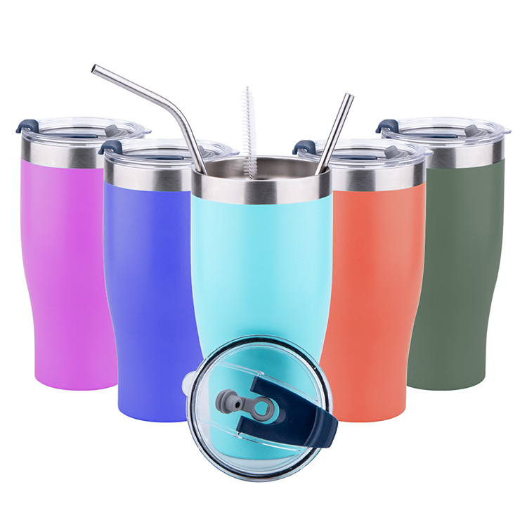 Wholesale Custom Logo 20oz 30oz Printed Double Wall Stainless Steel Travel Tumbler Cup with straw