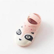 1 пара, модные Нескользящие хлопковые носки-тапочки с милым рисунком для маленьких мальчиков и девочек обувь для новорожденных с принтом жи...(China)