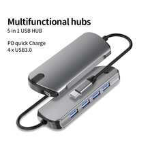 5 Ports USB Multifonctionnel Moyeu MultifunctionalType C à USB3.0 PD Lan 5 en 1 USB 3.0 Station d'accueil Pc  macBook Surface