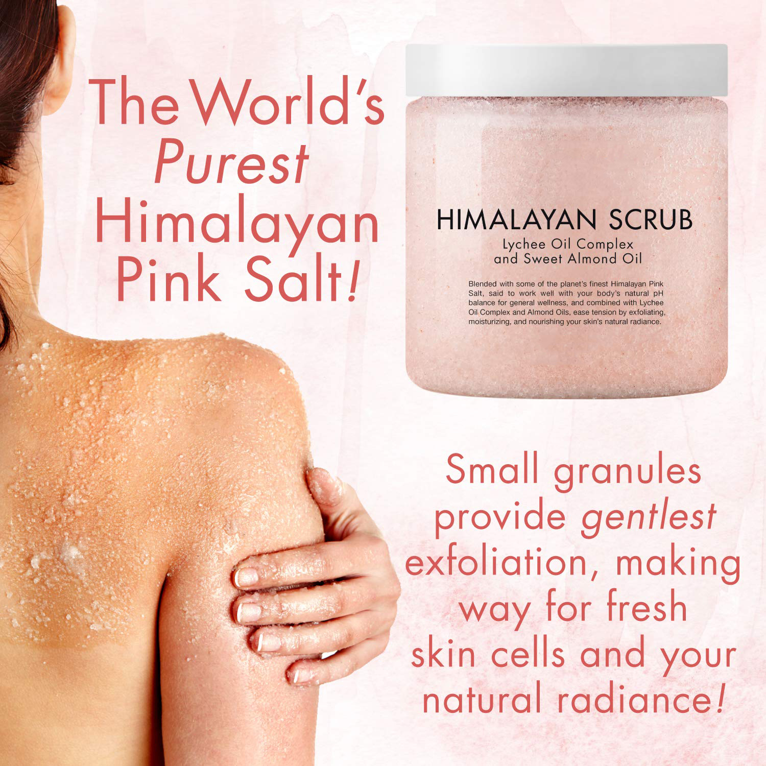 private label exfoliator 100% natural himalayan pink salt body scrub with sweet almond oil moisturizes