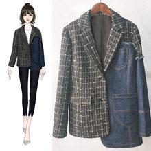 Костюм женский лоскутный джинсовый длинный рукав ассиметричный клетчатый Блейзер Пальто Женский Плюс Размер 2020 Осенняя мода(Китай)