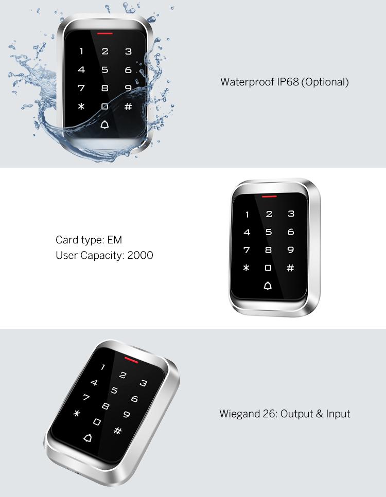 Door Access Control Keypad Standalone with Metal Housing Anti Vandal