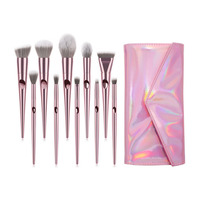 Private Label Professional 10pcs Premium Rose Gold Make Up Brush Vegan Foundation Makeup Brush Set with Pu Bag