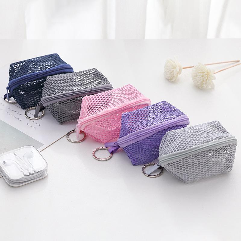 Mini soporte de malla multifuncional para monedas organizador de cables, lápiz labial, maquillaje cosmético, esponja Puff con cremallera, bolsa de red