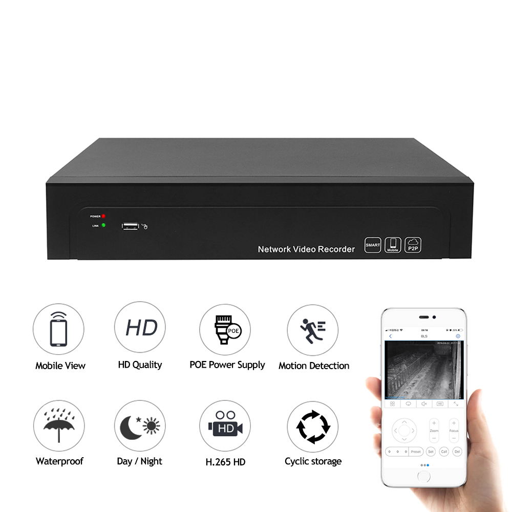 JideTech 1080P Dome PoE IP Camera NVR Kit 16 Channel CCTV Security Camera System with app