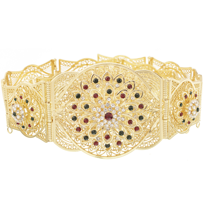 New European style high quality noble hollow flower Caften jewelry waist chain manufacturers direct sale wedding metal belt