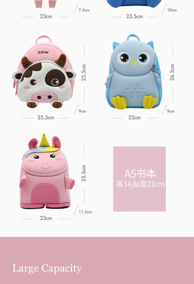 mochilas Cartoon New Kid Toddler Backpack 3D Animal School Bags for Boys Girls Child Waterproof Pre Schoolbags Kindergarten Travel Bags