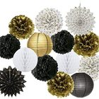 Paper Fans Paper Happy New Year Decorations Chinese Paper Lanterns Tissue Paper Flowers Pom Poms Hanging Paper Fans New Years Eve Party Decor