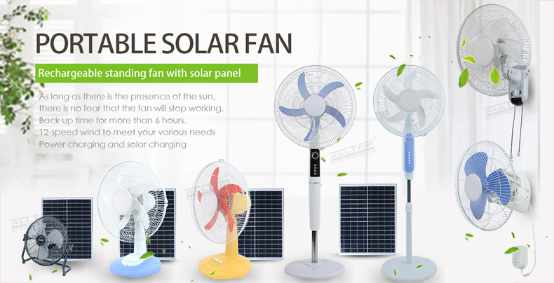 ALLTOP Rechargeable Solar Panel Home Solar Power Fan 18Inch Solar Fan