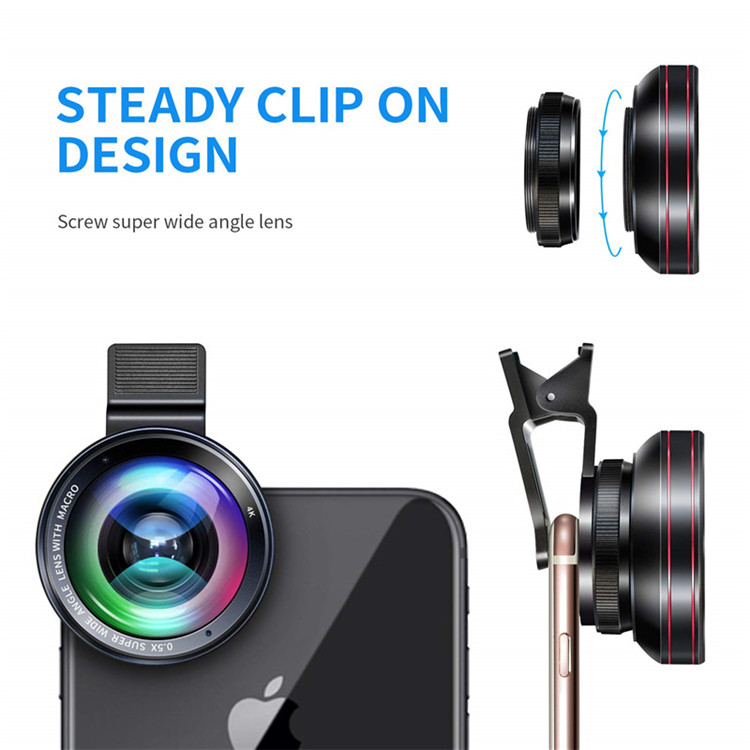 Aipaxal Factory Wholesale Travel Suit Universal Clip-on 4K HD 2 in 1 Super phone wide angle lens for iPhone