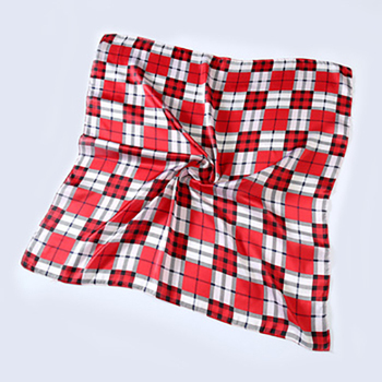 Square chessboard red plaid checked scarf bandana paisley kerchief 100 silk feeling polyester scarf silk scarf