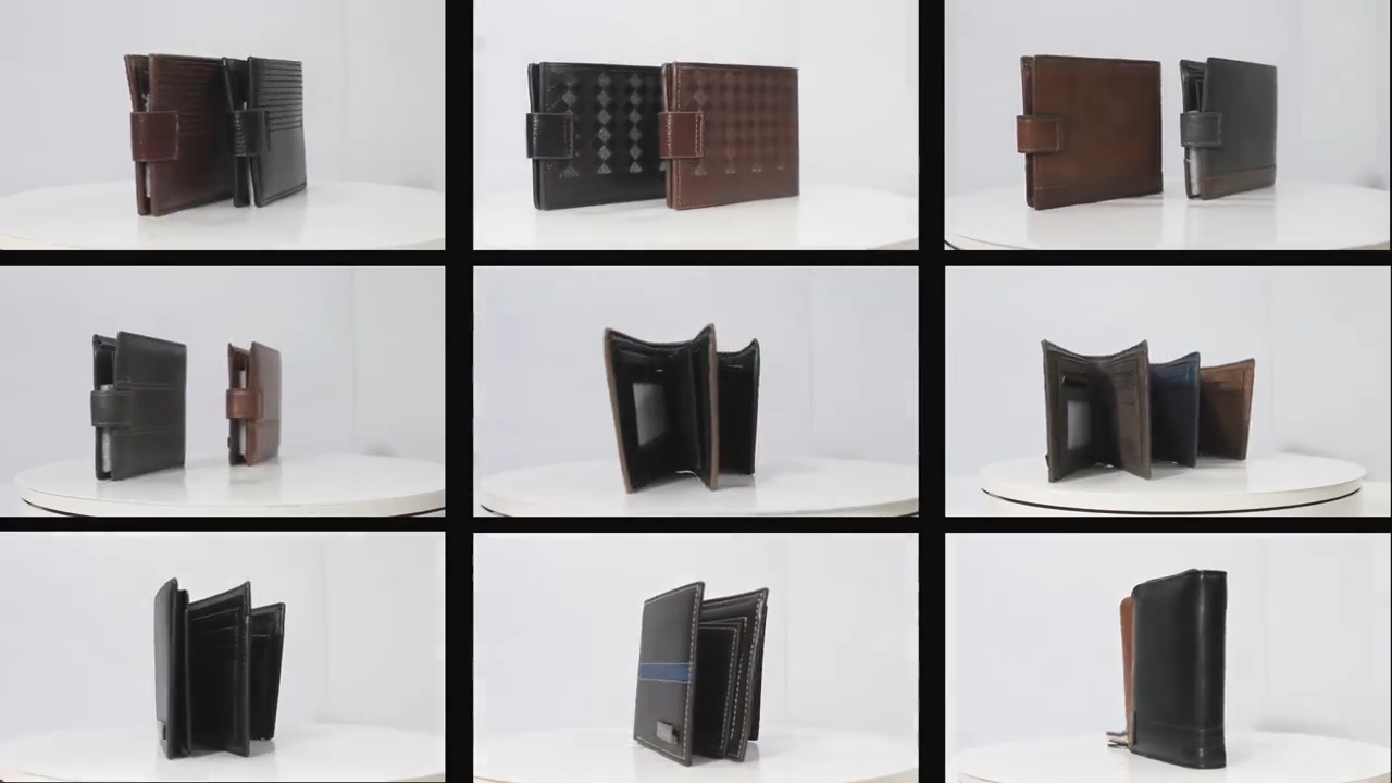 Roneer custom logo Chinese style men genuine leather printing bifold wallet multi card holders