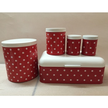 5Piece Bread Bin Kitchen Storage Container: biscuits, bread, tea, coffee & sugar tins