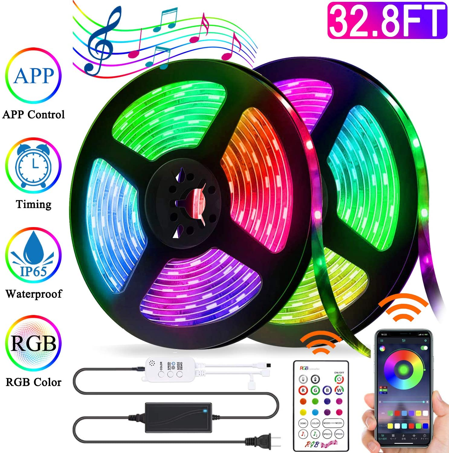 44 Key Smart RGB LED Strip 32.8ft Tape Light 300 LEDs WiFi APP Control Music  Waterproof for Room, Home, Kitchen