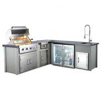 CE full set modern commercial barbecue burners outdoor kitchen with refrigerator built in islands gas bbq grill