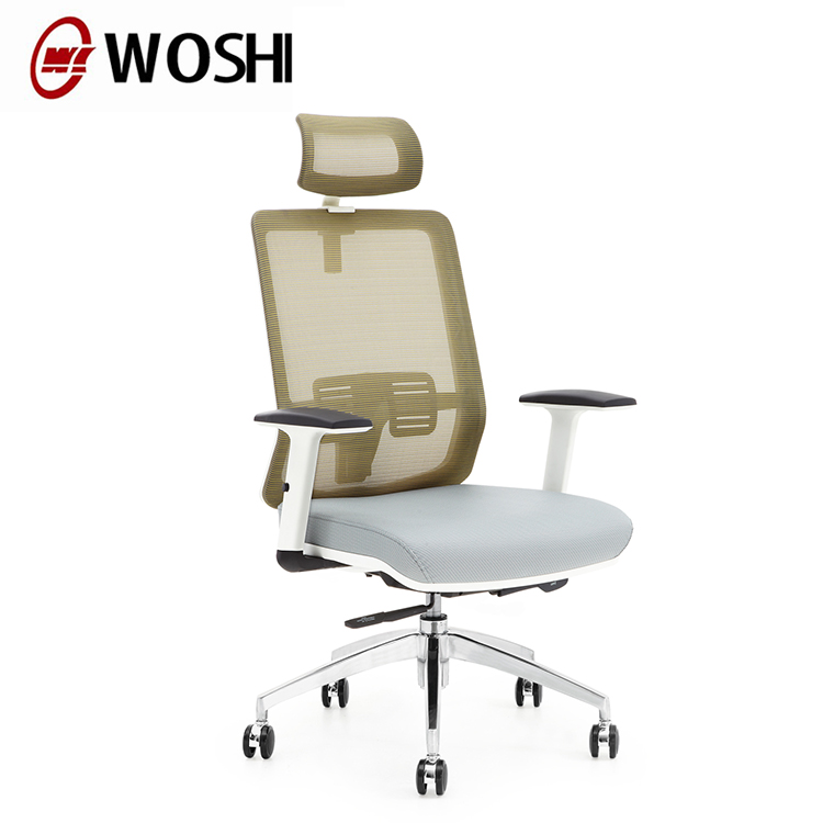 multi funtional high quality staff office chair office ergonomic recliner chair with memory foam seat white frame