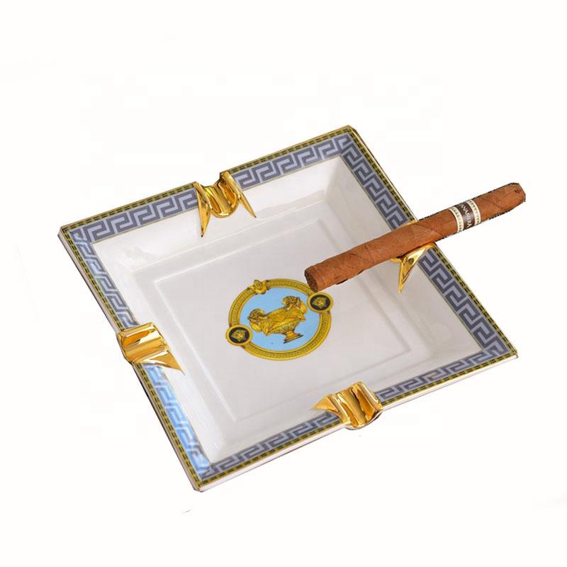 Заводская портативная квадратная Золотая фольга с краем наклейка керамическая сигарета пепельница с логотипом на заказ