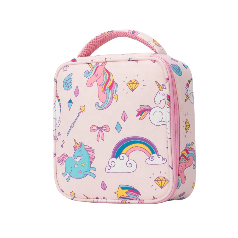 Heopono Cute Children Boys Girls Thermal Meal Food Carrier BPA free Reusable Eco Cartoon Unicorn Insulated Lunch Bag for Kids