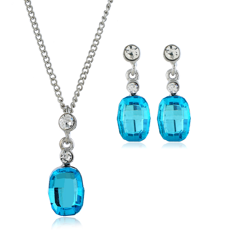 Fashion necklace earrings set wholesale high quality cut gemstone pendant charm necklace