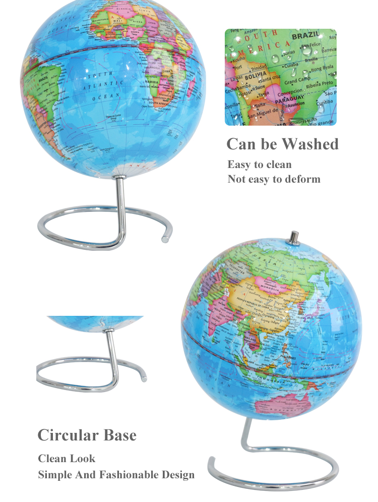 China well manufacturers 20cm Political District  Globe With Metal Base geographic globes toys child