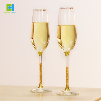 Wholesale 24K Gold Flakes Party Wedding Crystal Champagne Flutes Glasses With Diamond Decoration