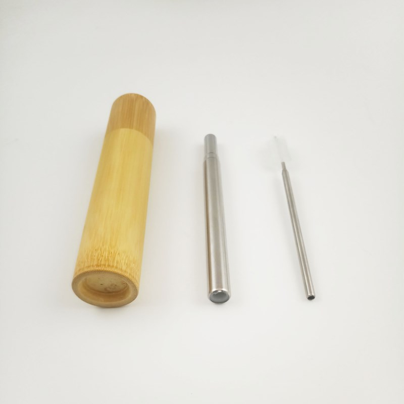 SGS Approved Collapsible Dinking Straw Metal Telescopic Straw with Bamboo Case