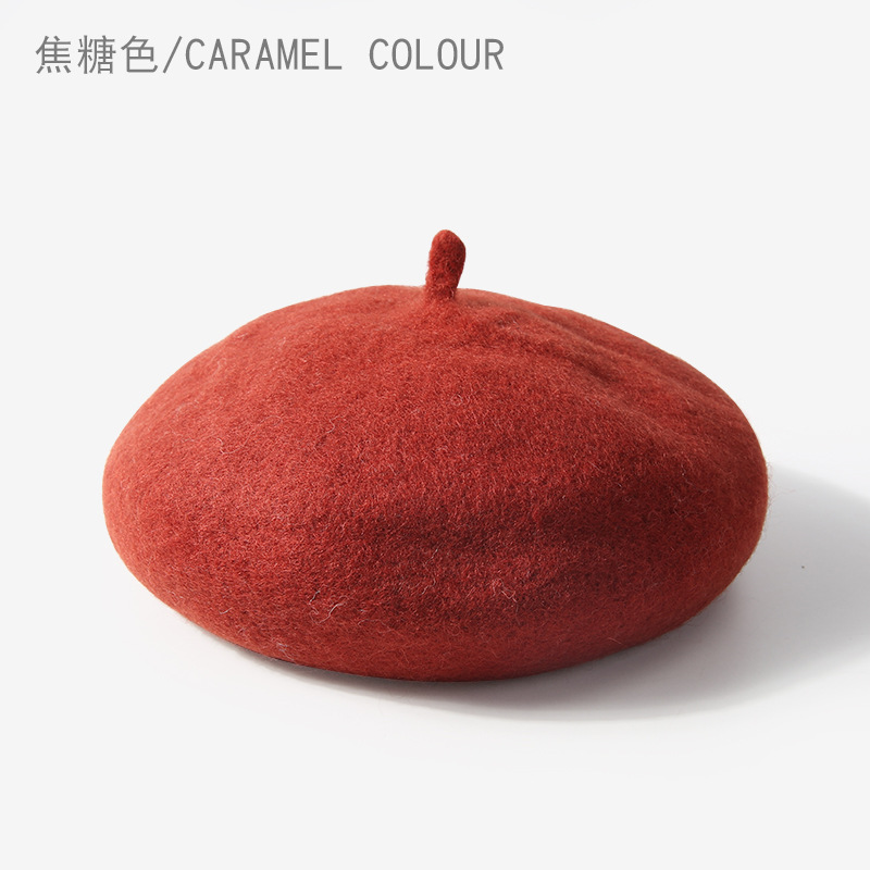 Cute Wool Baby Hat for Girls Vintage Autumn Winter Baby Beanies Kids Adjustable Toddler Beret Painter Hat Hair Accessories