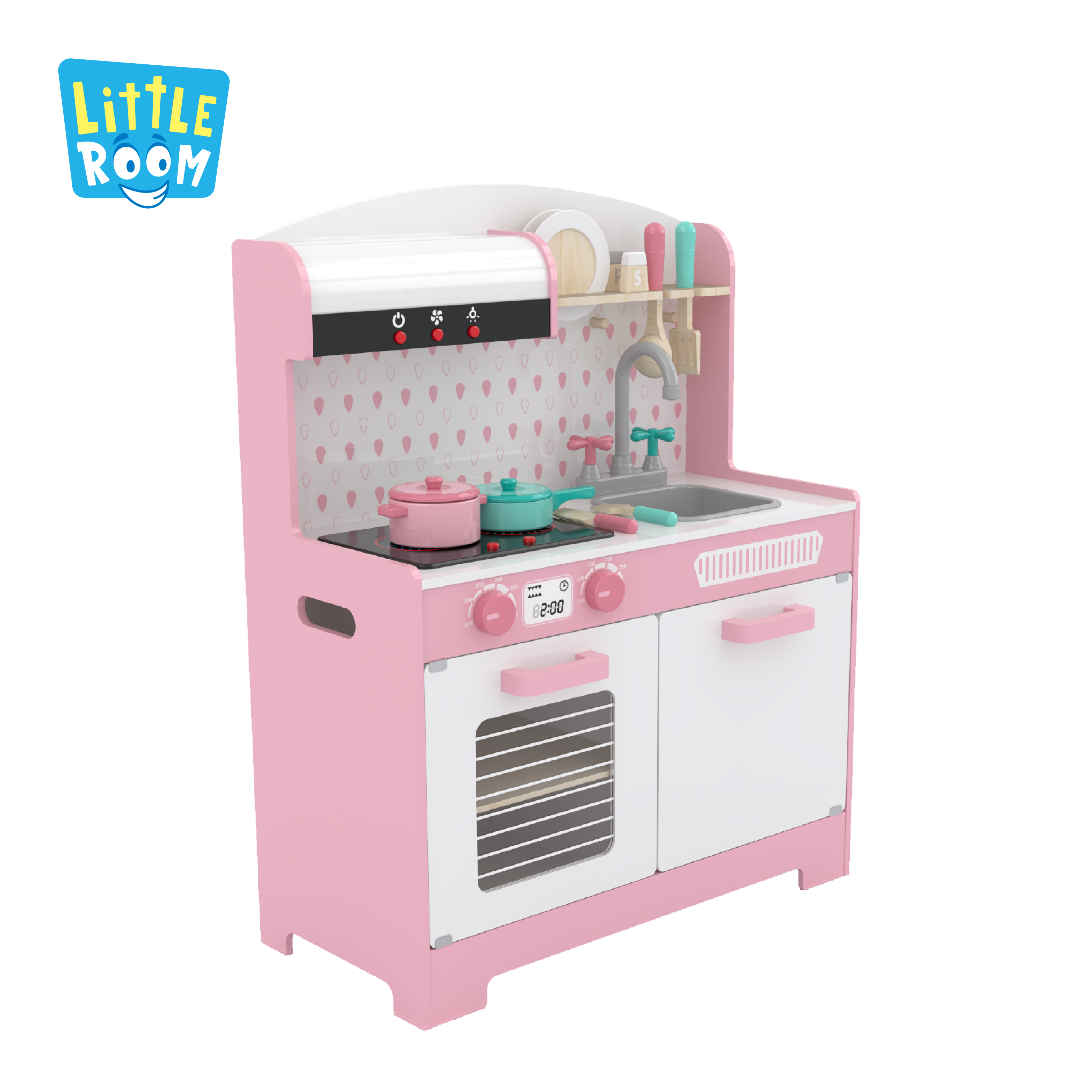 Hot Selling Custom Toddler Pretend Cooking Pretend Role Play Set Kids Wooden Kitchen Toys With Sounds Light