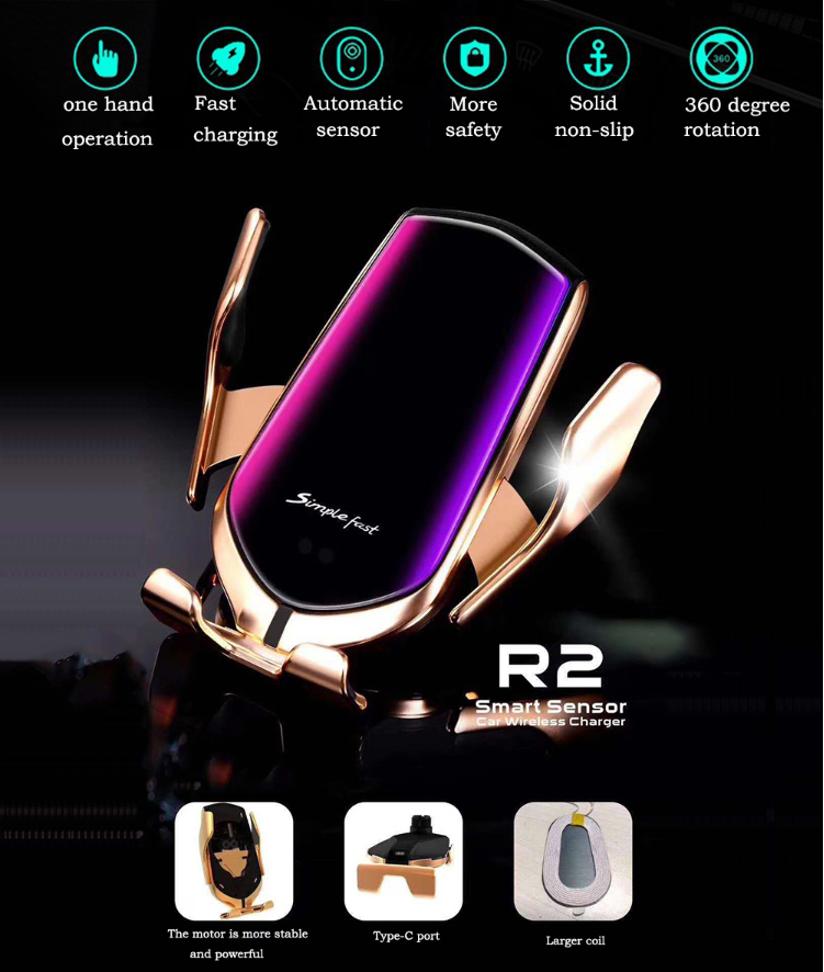 R2 Original USB TYPE C Port Universal Infrared Auto Clamp Car Phone Holder Mount Charging Wireless Charger