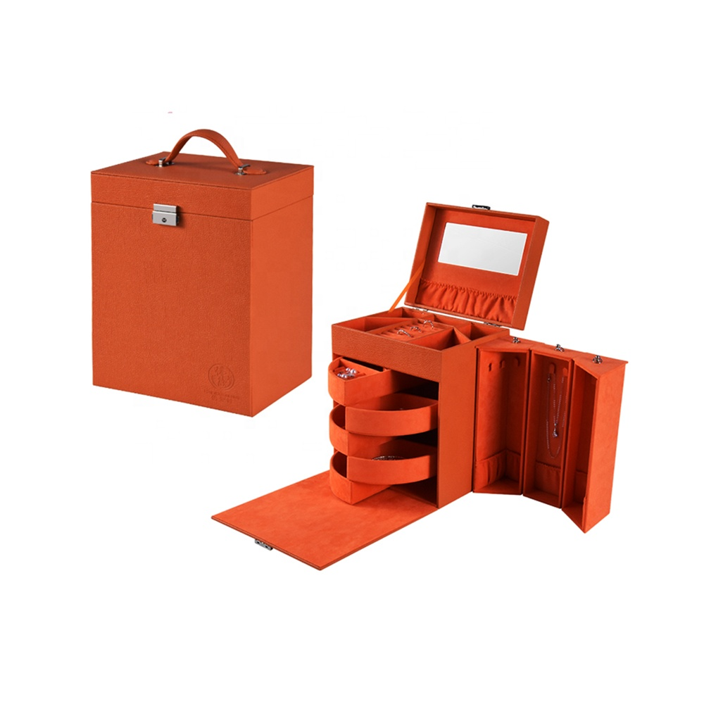 Wholesale Fashion Custom Portable Red Leather Jewelry Packing Box