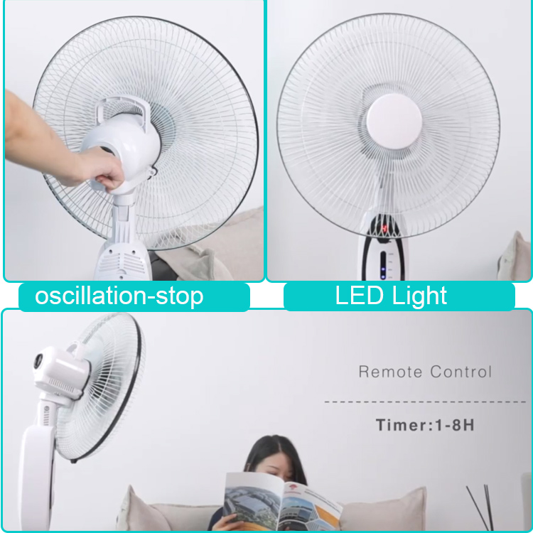 16 inch oscillating 5-speed rechargeable standing fan with remote