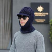 Korean version of the tide knit wool hat winter plus velvet thick warm headgear collar conjoined neck earmuffs hat cap wholesale