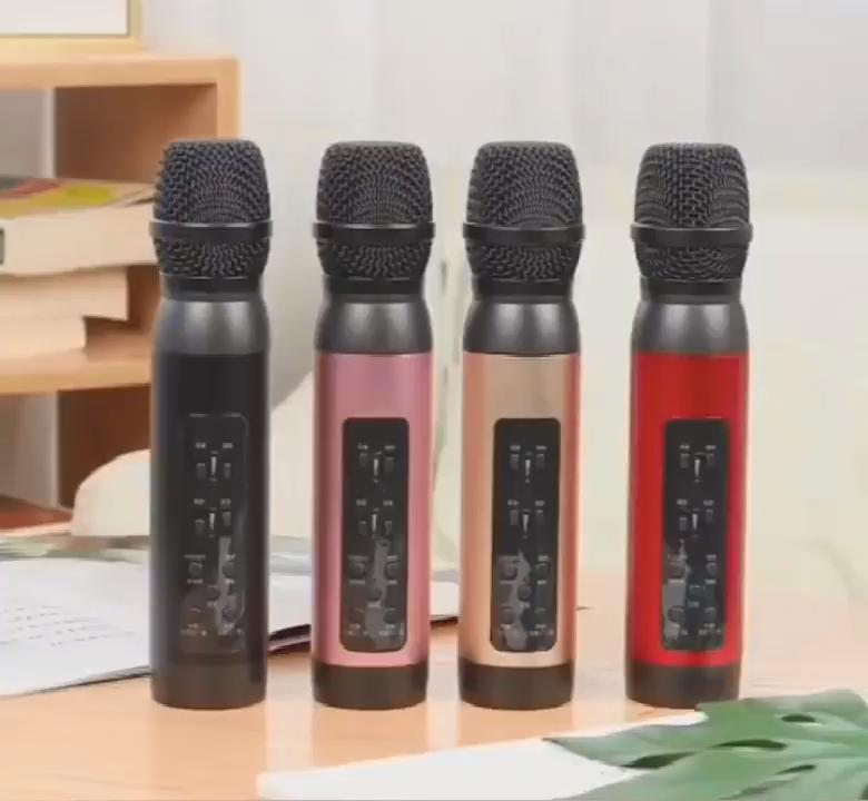 New Design M1 Wireless Condenser Microphone Dual Mobile Phone Karaoke Live Singing Microphone Speaker Built-in Sound Card