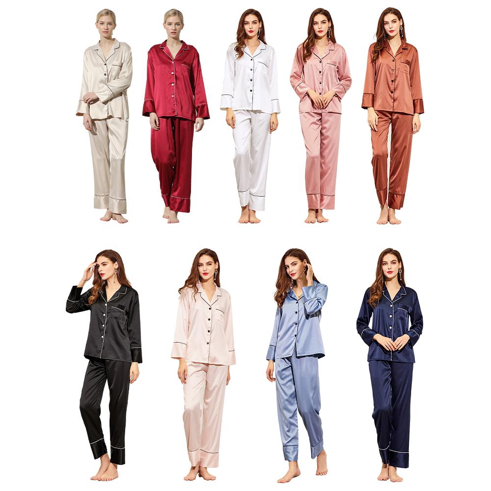 825 SWG Popular Factory Wholesale Lady Silk Satin Home Wear Women Sleepwear Long Sleeve cheap Pajamas sleeping pajamas, 9 colros