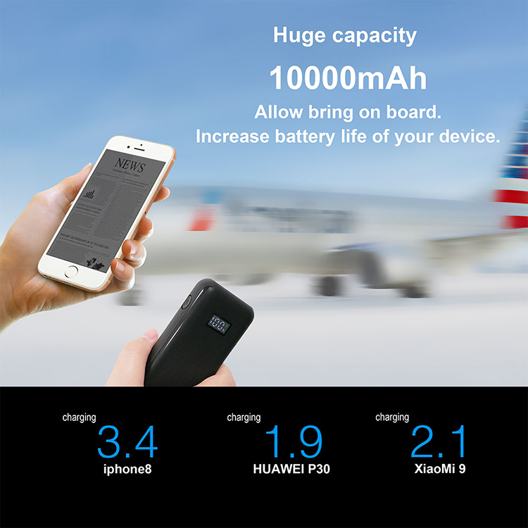 New Arrival Power Bank 10000mAh 18W PD 3.0 and QC 3.0 Fast Charging Power Bank Wireless Charger with Digital Display