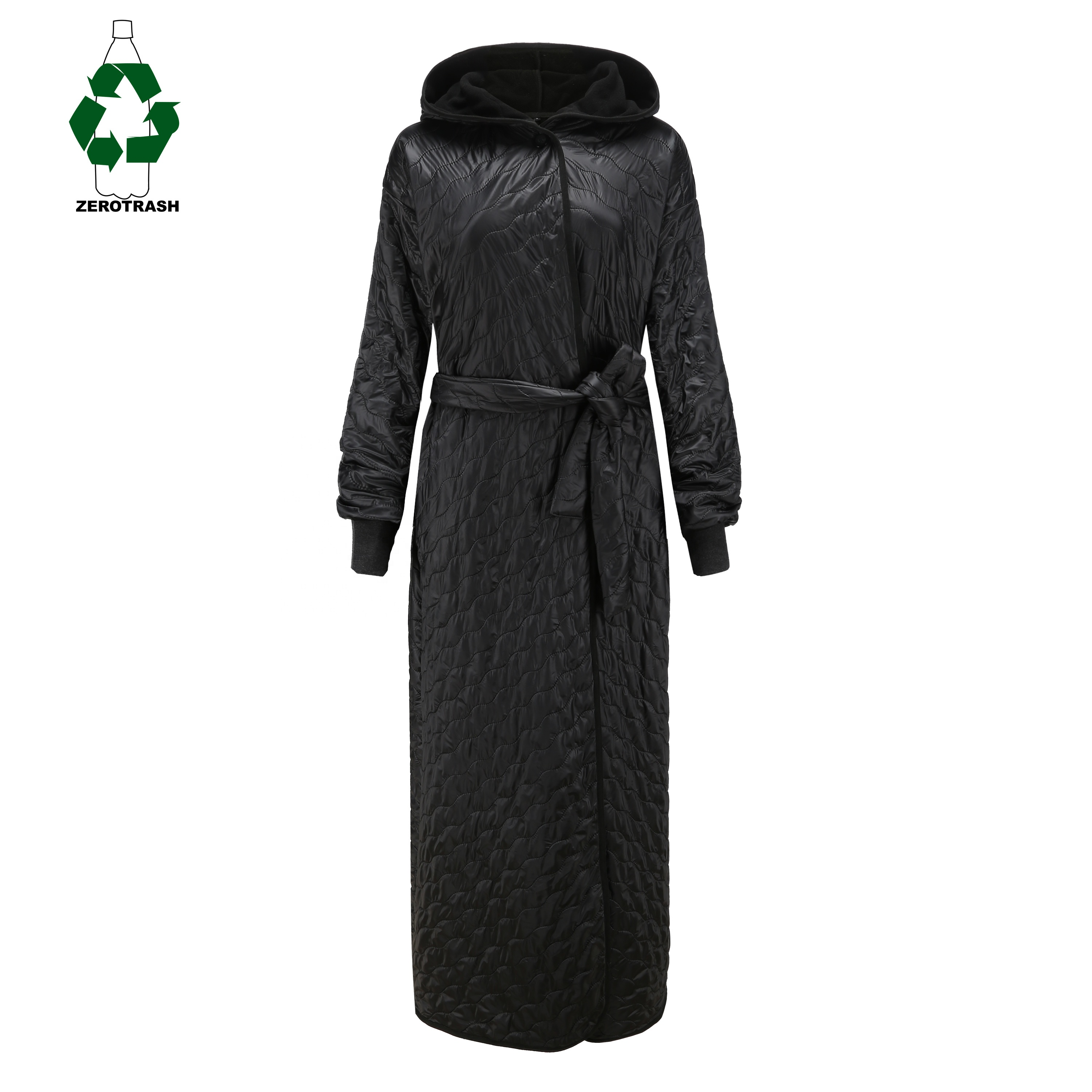 Women's Rpet Robe Warming Wind-proof Outdoor Long Body Beach Coat Recycled Polyester Quilted with Recycled Fleece