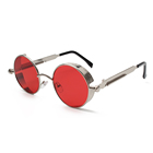 Vintage red colored metal unisex steampunk sun glasses