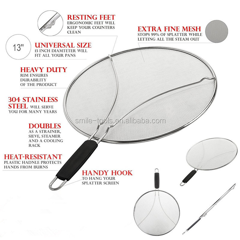 Black Plastic Handle Stainless Steel Grease Splatter Screen For Frying Pan Cooking