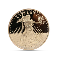 Customized American Commemorative Coin Liberty Goddess Eagle Ocean Gold Plated Coin Metal Badge Commemorative Collectible