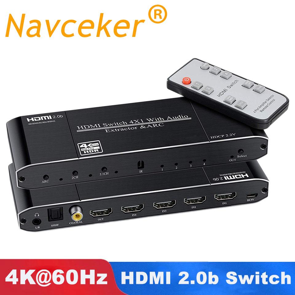 Мини 4K HDMI переключатель 2x1 HDMI 2,0 переключатель коробка 4x1 HDR HDMI переключатель аудио экстрактор с ARC и ИК-управлением для PS4 Apple TV HDTV(Китай)
