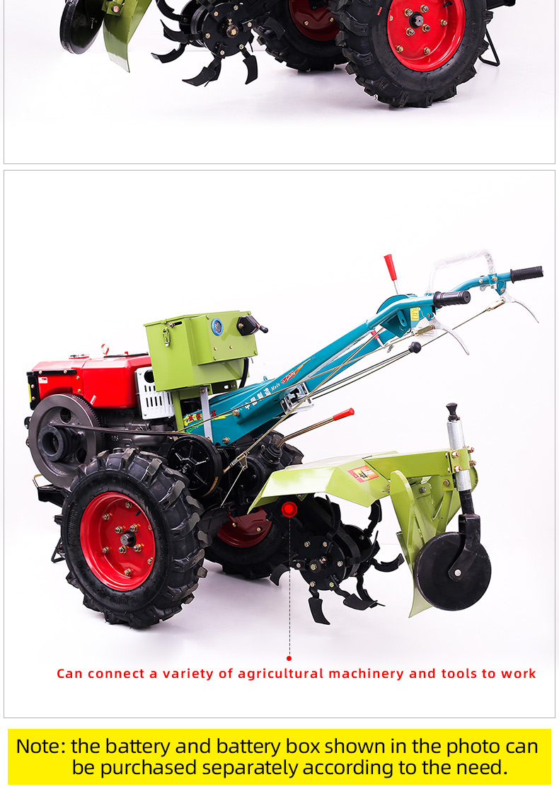 Factory price multifunctional 12HP diesel walking hand tractor for sale
