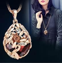 Женское длинное серое ожерелье BYSPT Collier Femme, ожерелье с кристаллами и кулонами, модное ювелирное изделие(Китай)
