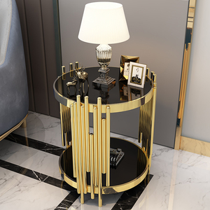 Modern interior furniture golden fancy metal fame dining table black printed tempered glass coffee table